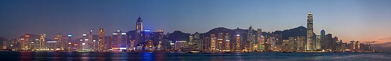 The Hong Kong skyline at dusk.