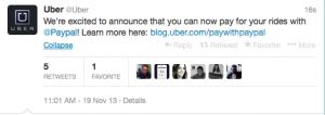 You can now pay for your Uber with PayPal.