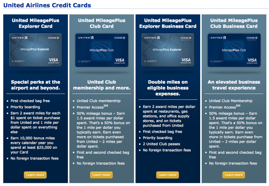 United credit cards