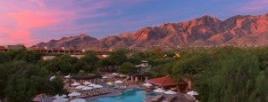 A sunset over the pool at the Westin La Paloma.