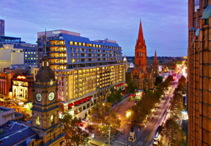 The colourful exterior of the Westin Melbourne.