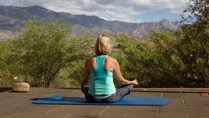 The outdoor yoga deck at Miraval.
