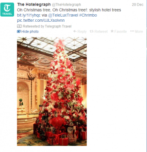 Hotels decorate for the holidays with some beautiful Christmas tree displays.
