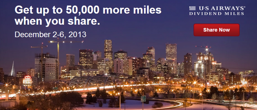 Share your US Airways miles and the recipient will get a bonus!