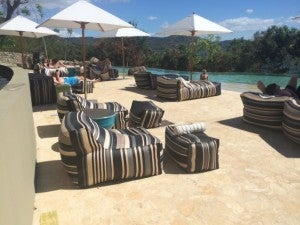 Comfortable, but hot loungers by the main pool