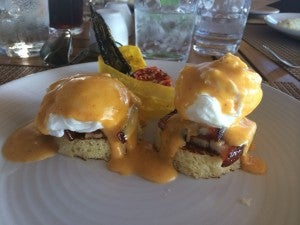 Pork belly benedict- enjoying pre-resolution indulgences on vacation!