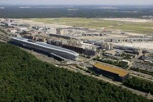 Frankfurt's airport is a major transit hub.