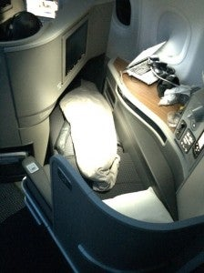 The seat fully reclined into a bed.