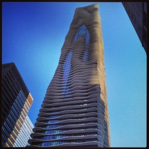 Radisson Blu Aqua is 18 stories high and architectural landmark in Chicago.