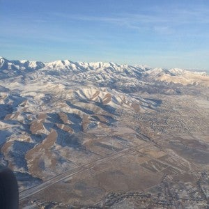Flying into Salt Lake City.