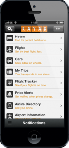Book travel using the Kayak app.