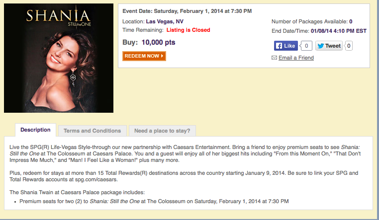 I was planning on attending the Shania concert in Vegas.