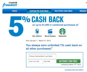 Some cash back cards like the Chase Freedom offer 5% earning on certain categories of merchants.