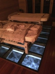 Spa treatment rooms with glass floor