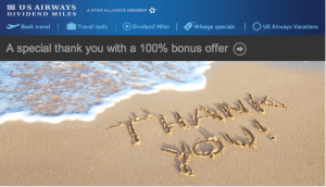 Earn a 100% bonus on purchased miles with US Airways.