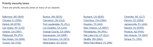 Here's a list of US Airways airports with priority security facilities.