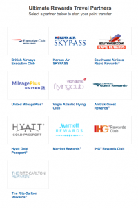There are 10 great travel transfer partners of Ultimate Rewards.