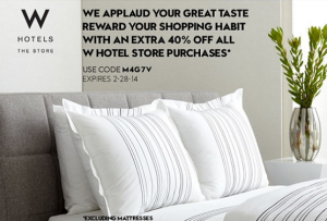 Get 40% at the W Store, excluding mattresses.