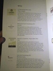 The white wine list was pretty impressive.