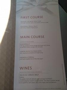 BusinessElite breakfast menu.