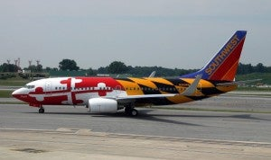 """Southwest's """"Maryland One"""", a Boeing 737 with the Maryland state flag painted onto it, celebrating their stronghold of BWI"""