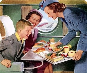 Most people aren't as excited as this boy is about unhealthy, bland airline food.