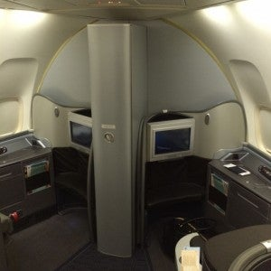 The two seats in row 1 of first class.