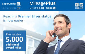 Get silver status and 5,000 bonus points for flying 6 segments on Copa.