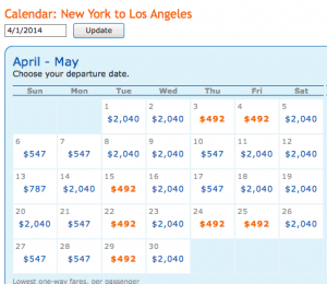 April cheap fare dates