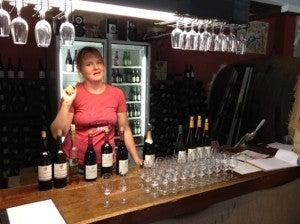 Getting the tasting set up at Kellybrook.