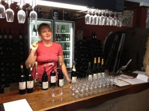 Getting the tasting set up at Kellybrook.