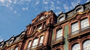 The historic facade of the Le Meridien Parkhotel Frankfurt.
