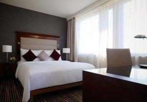 A guest room at the Marriott Frankfurt.
