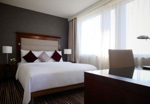 A guest room at the Marriott Frankfurt.
