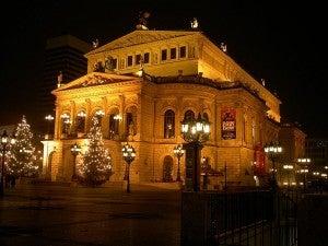 The Opera House at night.