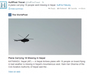 A plane has gone missing in Nepal.
