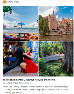 Romantic hot spots for Valentine's Day.