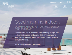 SPG members get 35% off room rates and free breakfast.