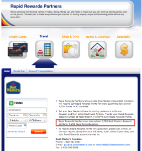 Best Western Rewards points transfer to Southwest at 5,000:1,200.