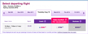 Seats on the HNL-SYD route are going for $100 each way.