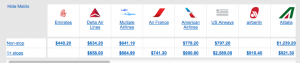 Delta/Alitalia aren't price matching just yet.