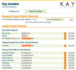 The Kay Jewelers bonuses listed on EVReward.