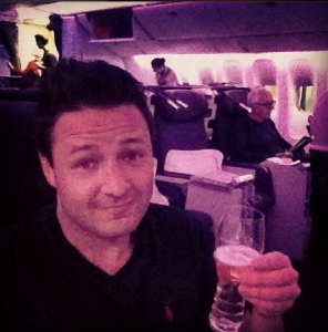 Life didn't seem so bad after all, sipping champagne in Virgin Business Class.