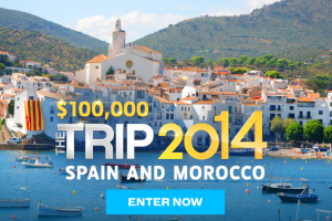 Win a trip worth $100,000 to Spain and Morocco.