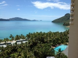 The view over the pool and beach.