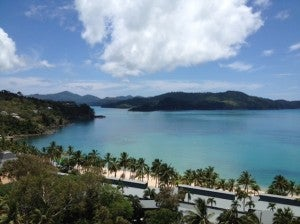 A view over the beach at Hamilton Island.