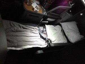 My bed in the fully reclined position.