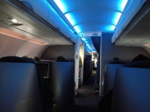 The business class cabin in-flight.