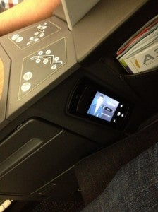 The seat controls and remote control.