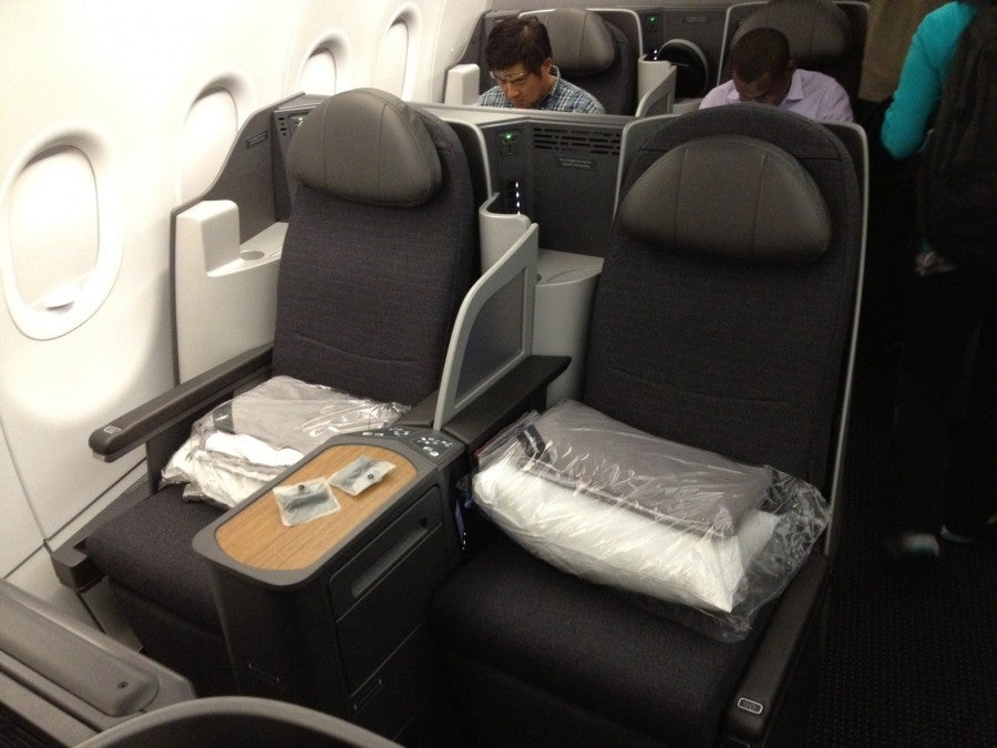 My seat in the business class cabin.